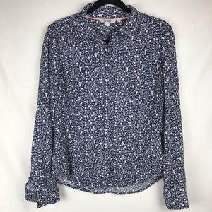 Boden Button Down Blue & White Long Sleeve Shirt